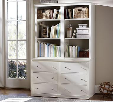 Cute Logan Bookcase with Drawers #potterybarn bookcase with drawers