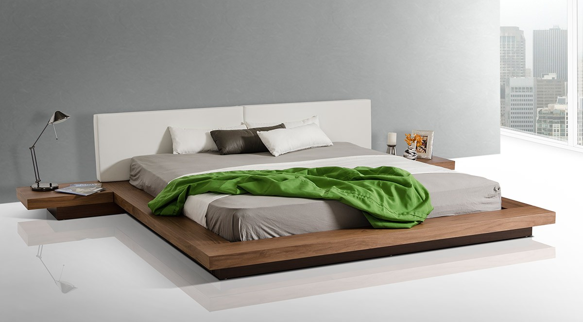 Cute Modrest Opal Modern Low Profile Walnut Platform Bed low profile platform bed