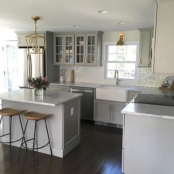 Cute Small Gray Kitchen with Mini Subway Tiles That Go Halfway Up The house remodeling ideas for small homes