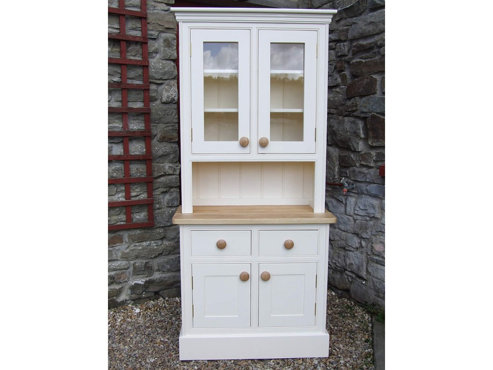 Cute Small Painted Welsh Dresser, Panelled and Glazed Doors, W:915mm H:1980mm small welsh dresser