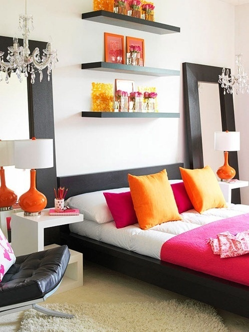 Cute Splashes of tangerine orange and hot pink in a black u0026 white bedroom black and white bedrooms with a splash of color
