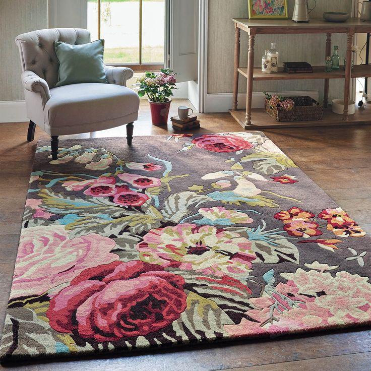 Cute Stapleton Rugs 45302 in Rosewood by Sanderson pink floral area rug