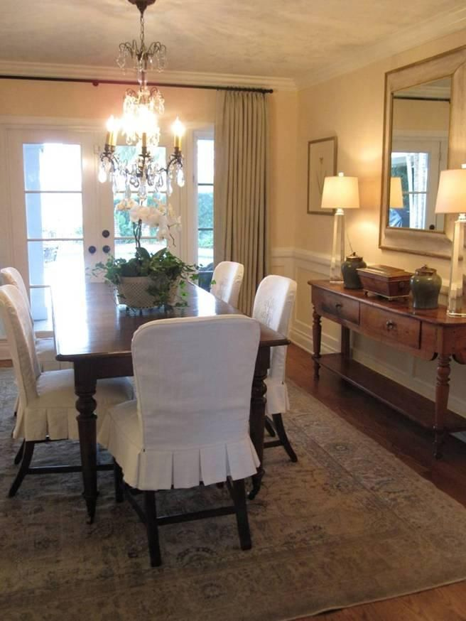 Stunning slipcovers - dining room Skirt example dining room chair covers
