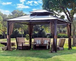 Elegant 10x12 Metal Garden Gazebo Patio Awning Permanent Canopy Deck Hot Tub Spa patio canopy gazebo