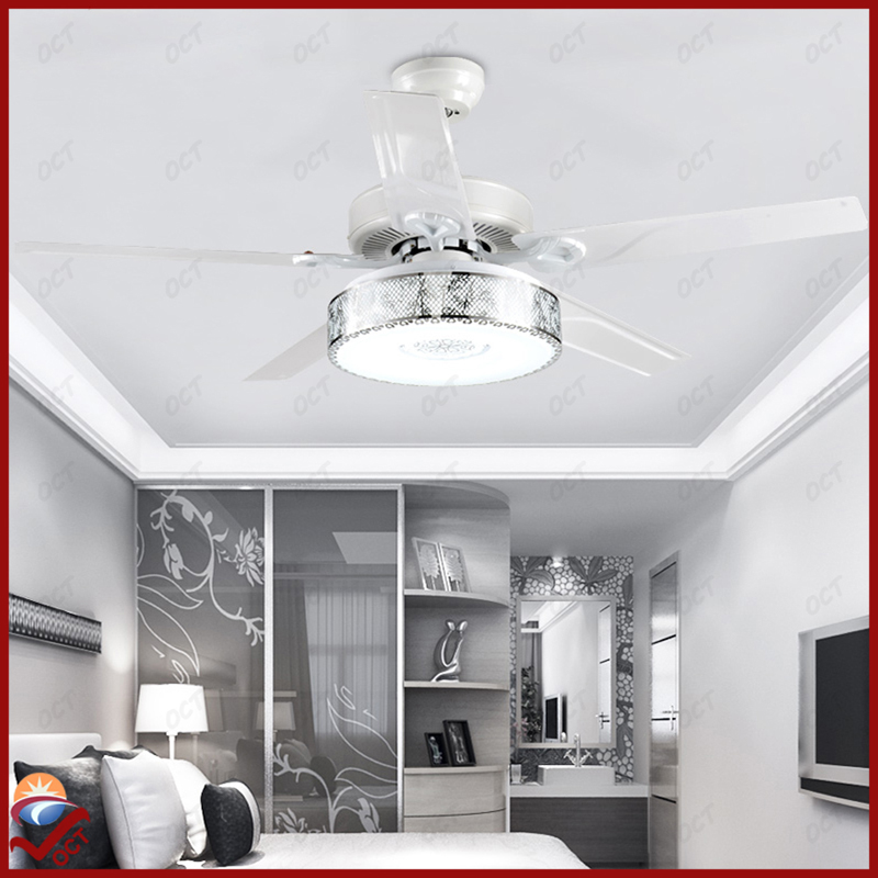 Elegant 110v 220v luxury quiet ceiling fans lights remote ventilador modern bedroom  led quiet ceiling fans for bedroom