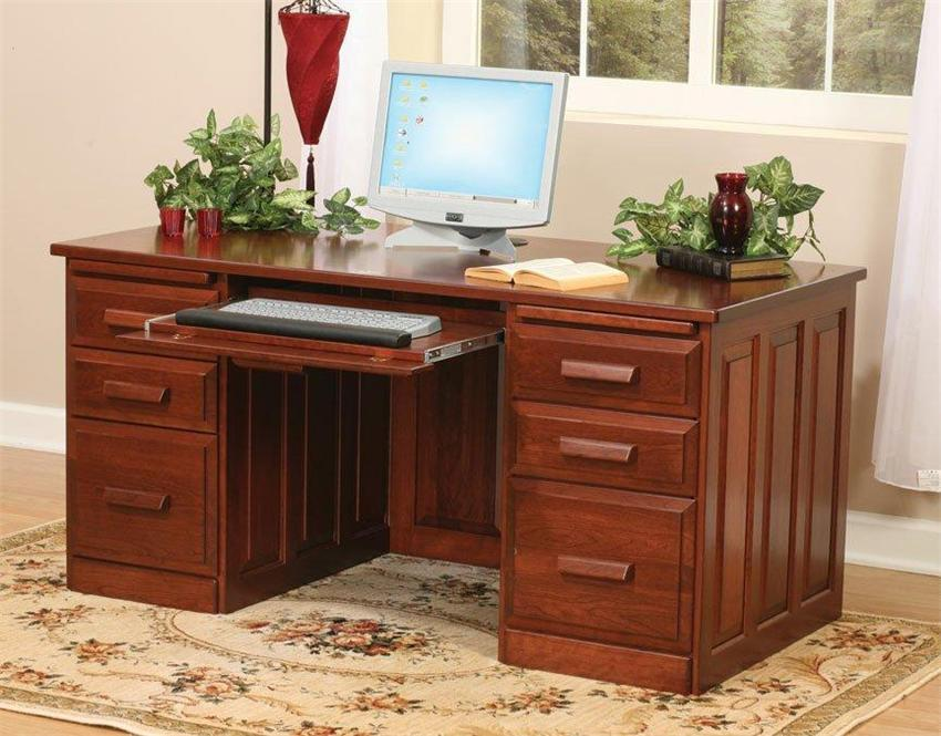 Elegant Amish Flat Top Home Office Desk wood desks for home office