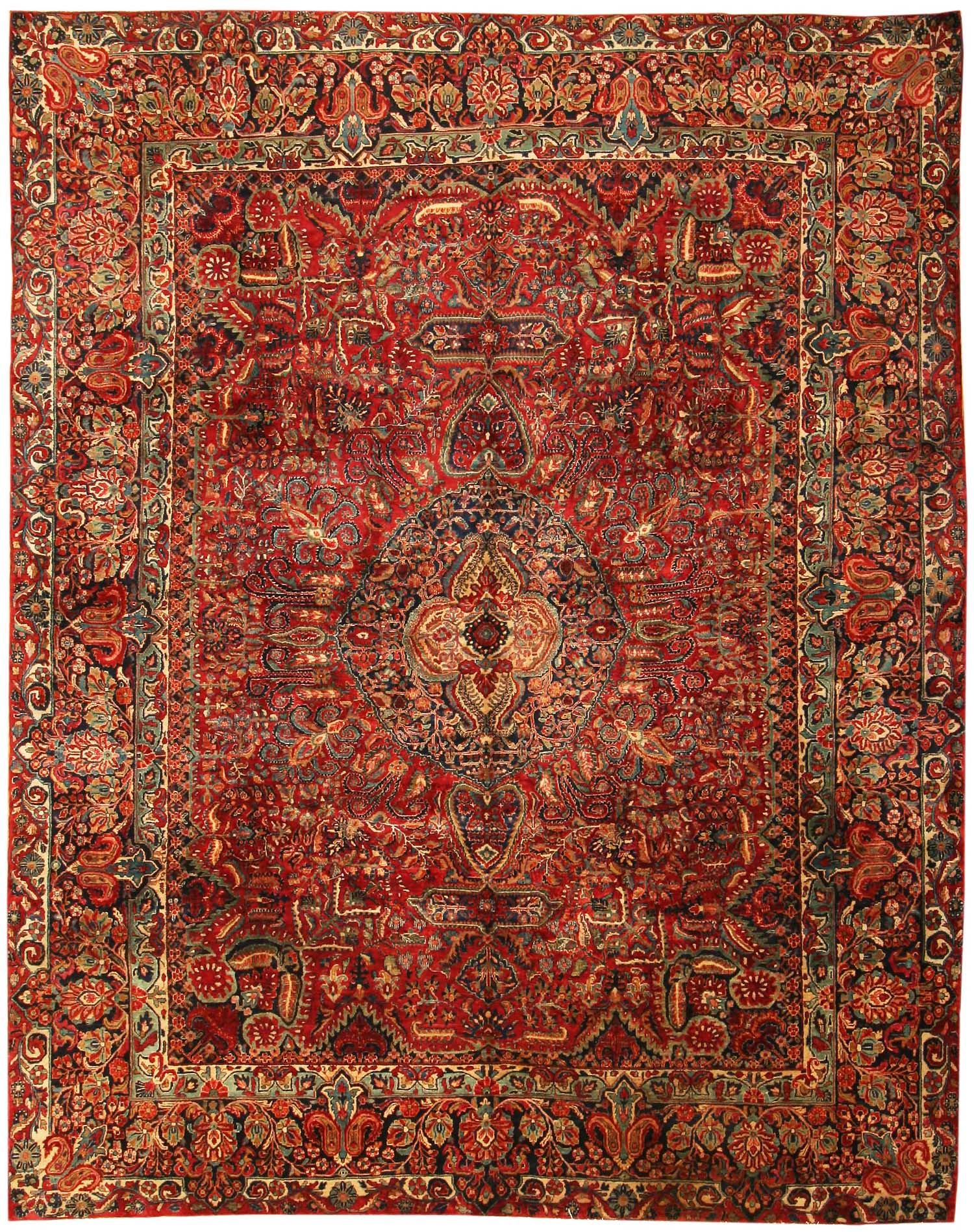 Elegant Antique Sarouk Persian Rug 43559 - by Nazmiyal - for den/study vintage persian rugs