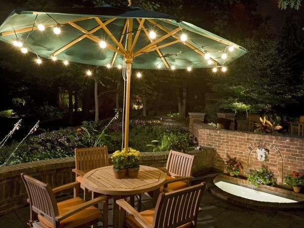 Elegant Backyard Lighting, Outdoor Lighting, Lighting Ideas, Lighting Design,  Outdoor Decor, Outdoor patio umbrella lights
