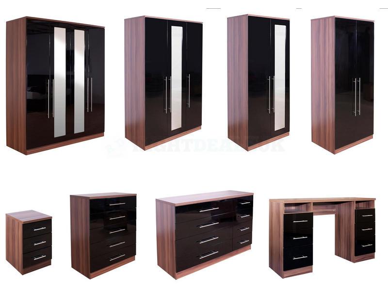 Elegant bedroom furniture black gloss and walnut photo - 2 walnut black gloss bedroom furniture