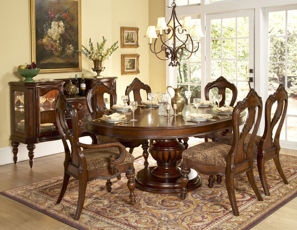 Elegant big round formal dining room tables | Worcester Oval to Round Formal round dining room table sets