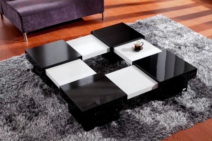 Elegant Black and White Modern Folded Coffee Table Wood center table for living room