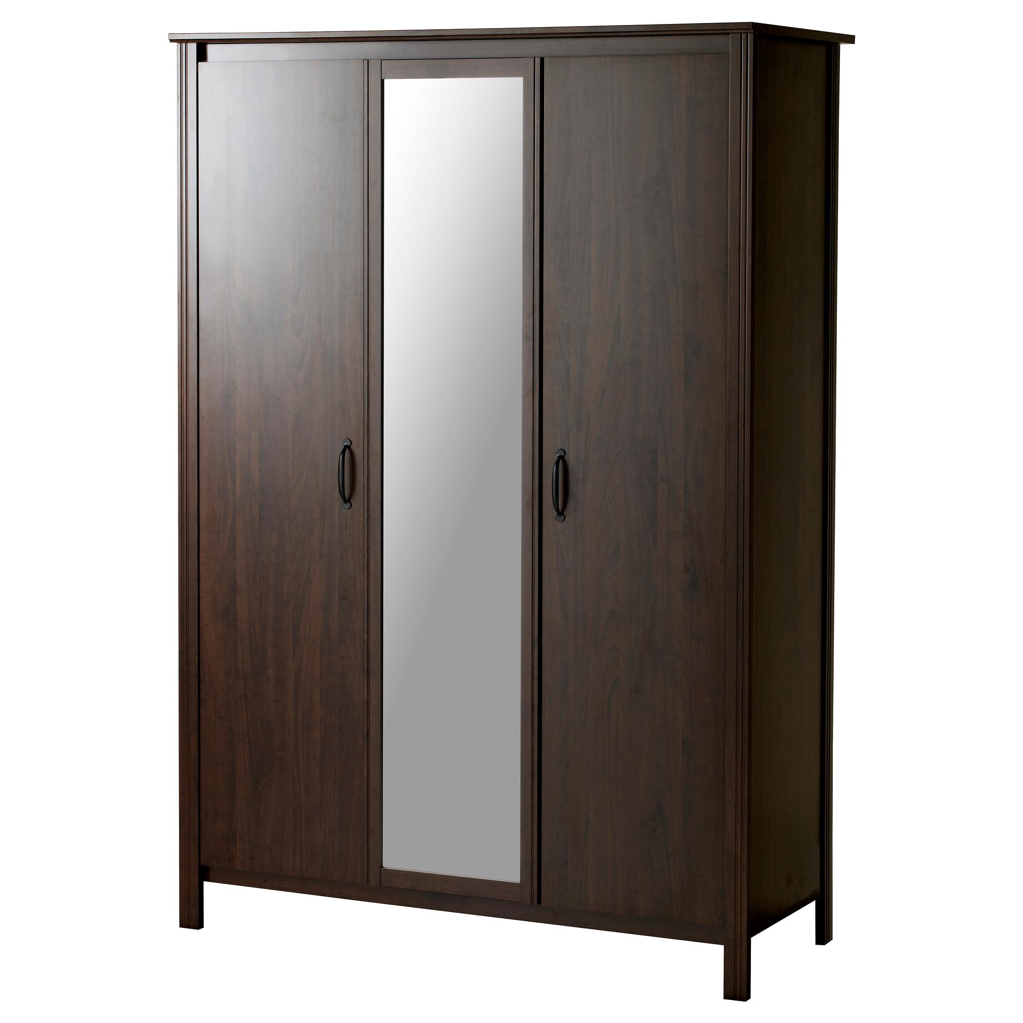 Elegant BRUSALI Wardrobe with 3 doors - IKEA portable wardrobe ikea