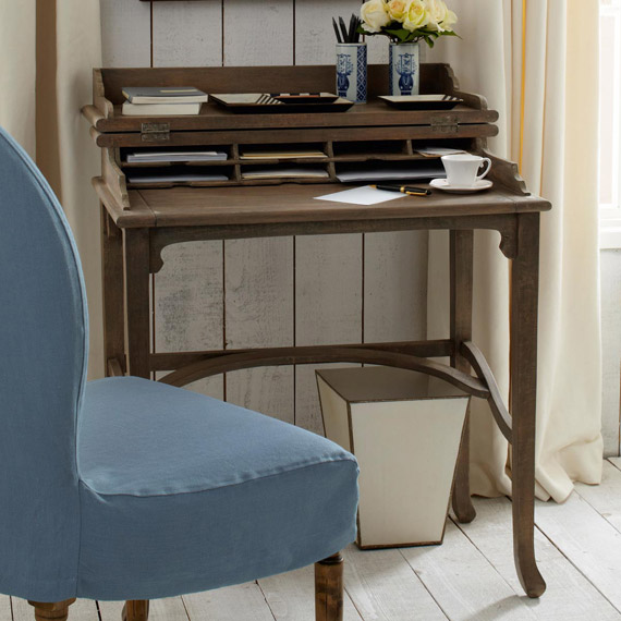 Elegant Campaign Desk - Wood ... small writing desk