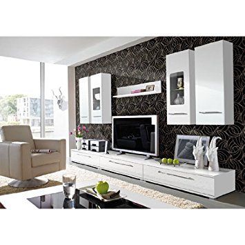 Elegant Cool Living Room Furniture Set In High Gloss White white gloss living room furniture