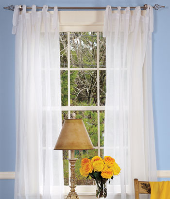 Elegant Cotton Voile Tie-Tab Top Curtains I could do these on the 4-poster tab top sheer curtains