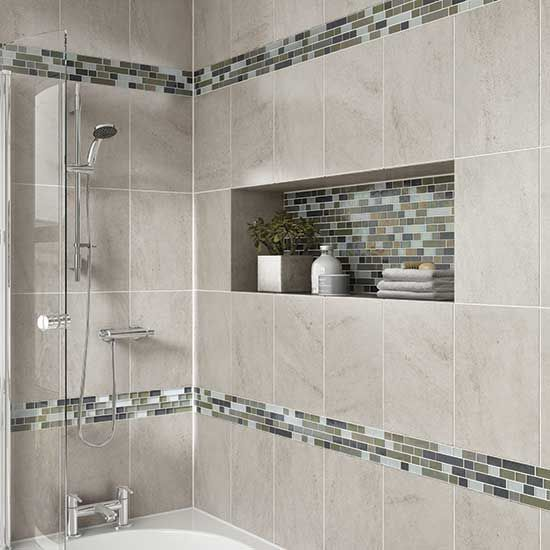Elegant Details: Photo features Castle Rock 10 x 14 wall tile with Glass wall tiles for bathrooms