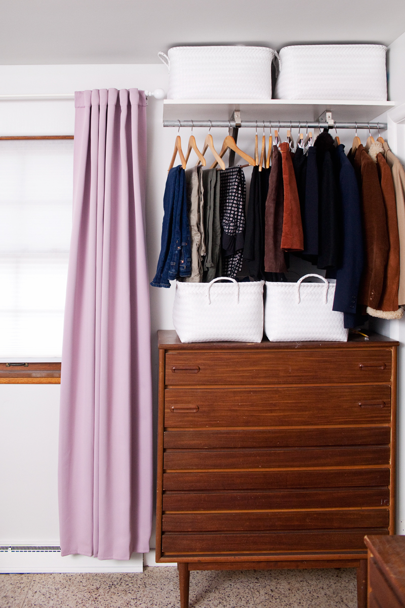 Elegant DIY open closet system- for those with tiny bedroom closets! open wardrobe closet