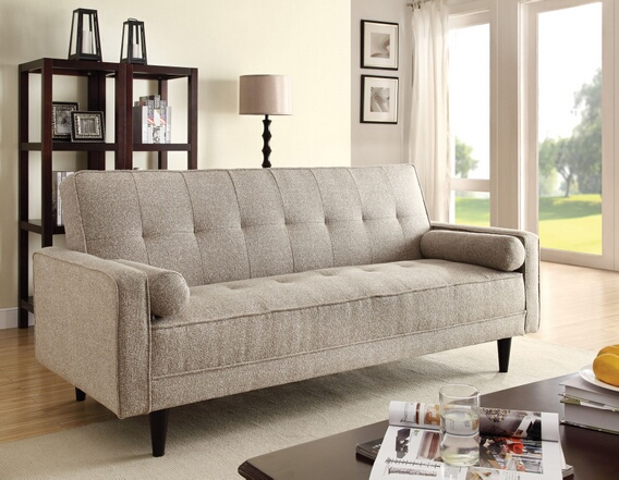 Elegant Edana collection sand linen fabric upholstery convertible sleeper sofa with  2 throw linen sleeper sofa
