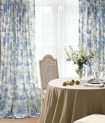 Elegant French country blue toile curtains add the appeal of country living to your french country curtains