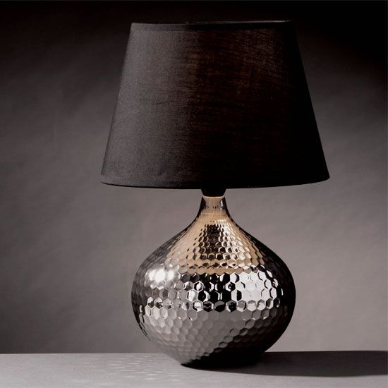 Elegant Hammered Metal Table Lamp | Hammered Silver table lamp by Furniture in silver nightstand lamps