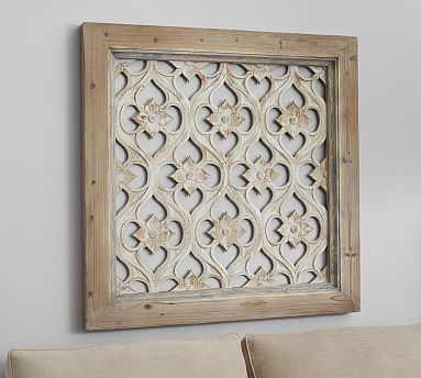 Elegant Hempstead Carved Wood Wall Art Panel #potterybarn carved wood wall art panels