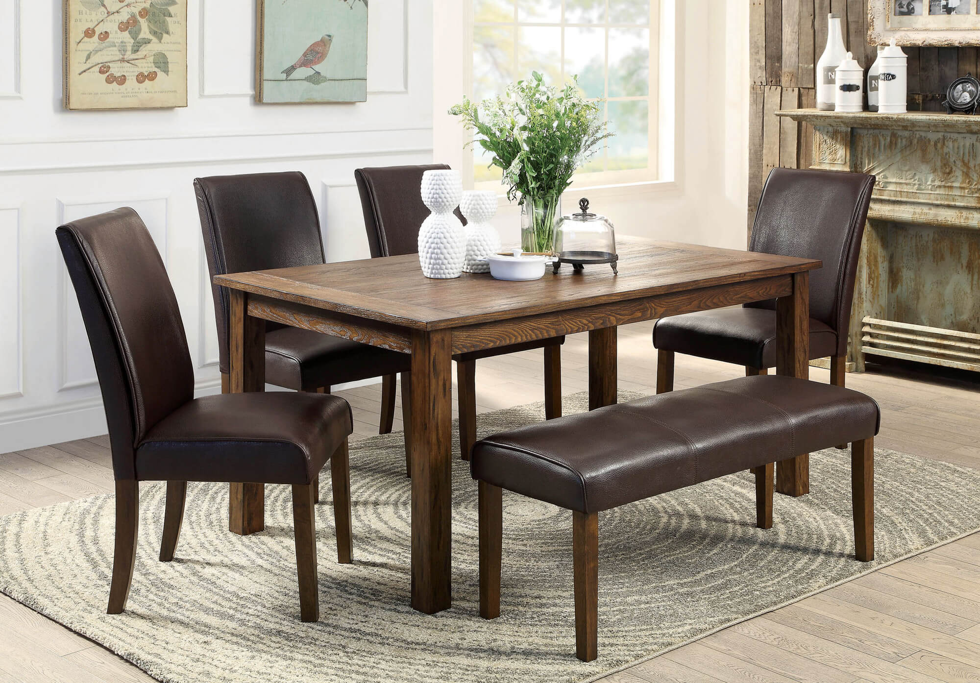 Elegant Hereu0027s a rustic rectangle dining table with fully cushioned chairs and small dining room sets