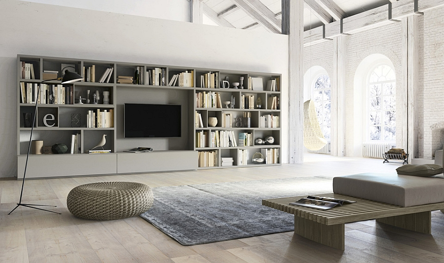 Elegant Living room wall unit with side panels, shelves, TV compartment and DVD wall shelving units for living room