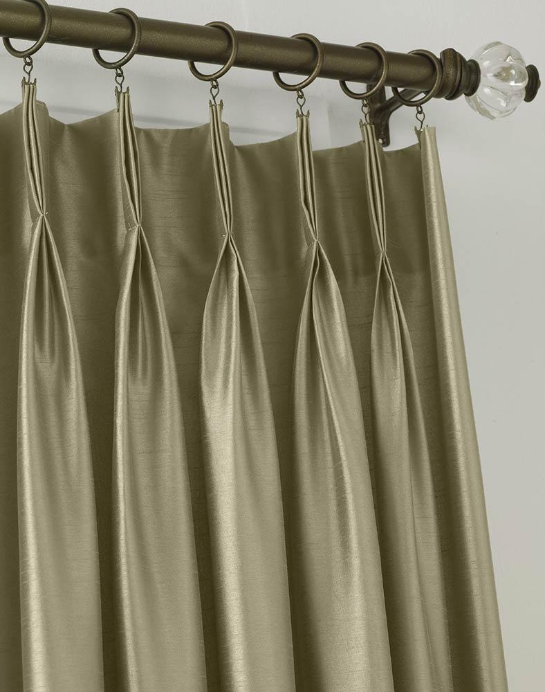 Elegant Marquee Faux Silk Pinch Pleat Drapery pinch pleat drapes