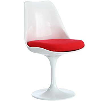 Elegant Modway Lippa Dining Fabric Side Chair, Red tulip dining chair