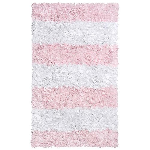 Elegant Pink Stripe Shag Rug pink nursery rug