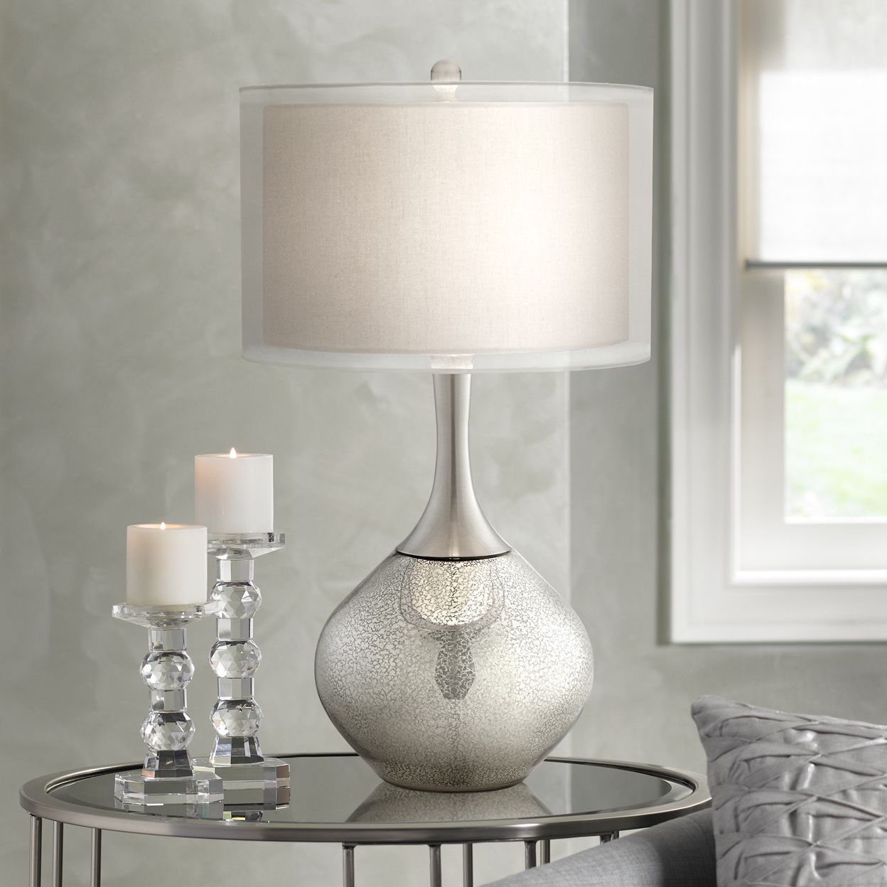 Elegant Possini Euro Design Swift Modern Mercury Glass Table Lamp silver nightstand lamps