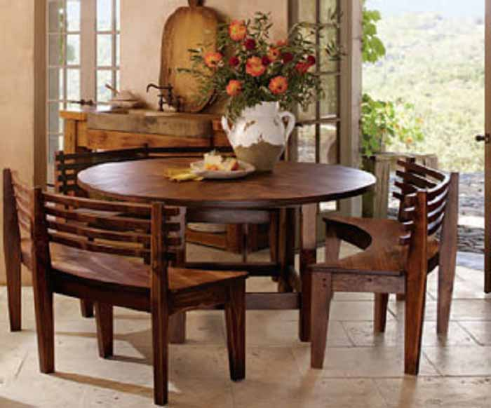 Elegant Round Dining Room Table Sets with Benches - http://quickhomedesign.com/ round dining room table sets