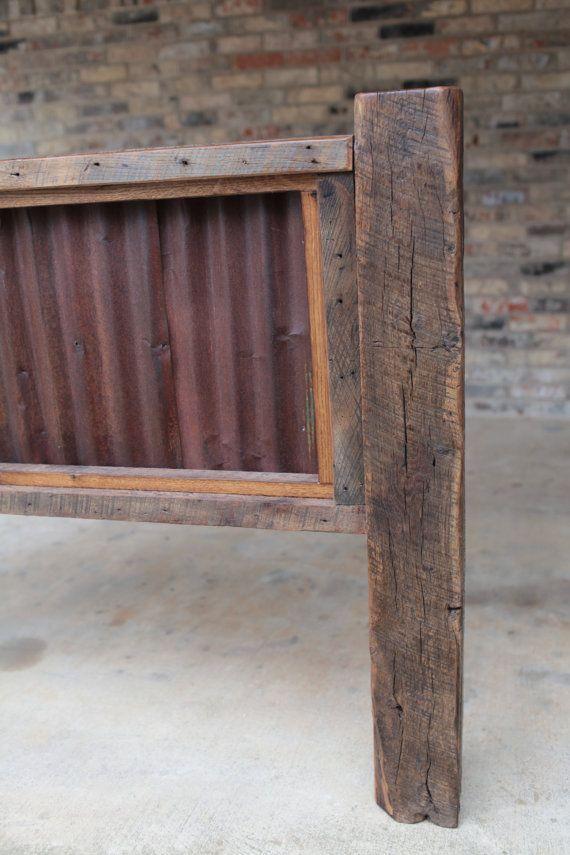 Elegant rustic headboard with wood and corrugated tin | Queen Headboard Reclaimed rustic metal headboards