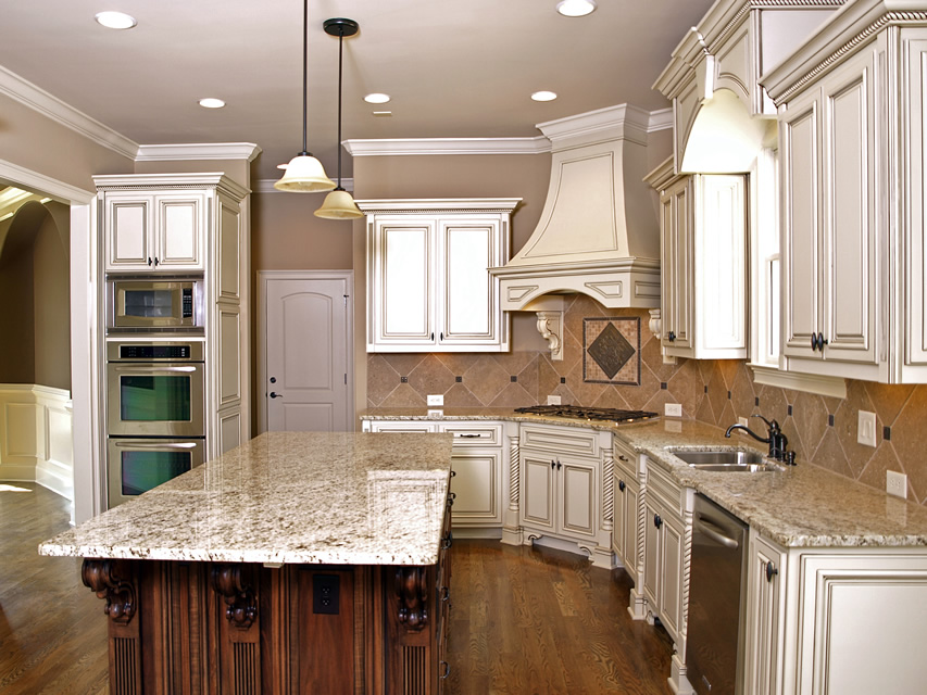 Elegant Rustic white kitchen cabinetry with granite island rustic white kitchen cabinets