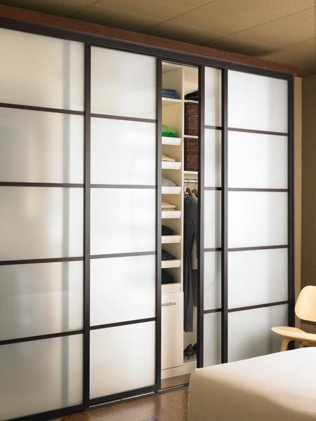 Elegant Shoji sliding doors for bedroom closet, with frosted glass closet sliding doors