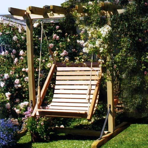 Elegant Single Swing With Frame - garden swings, swing seats, adirondack chairs, garden swing seat