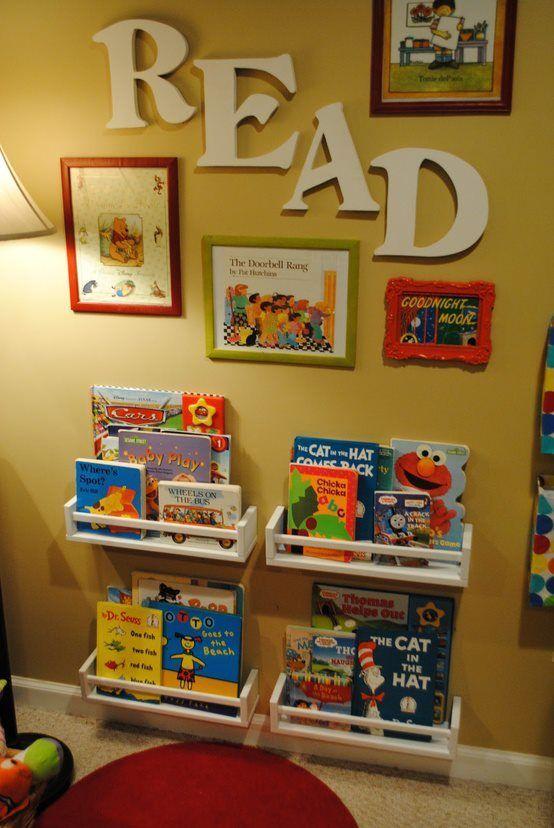 Elegant Storage Ideas for Kids - DIY Inspired Ikea spice racks for $4 for book storage ideas for kids room