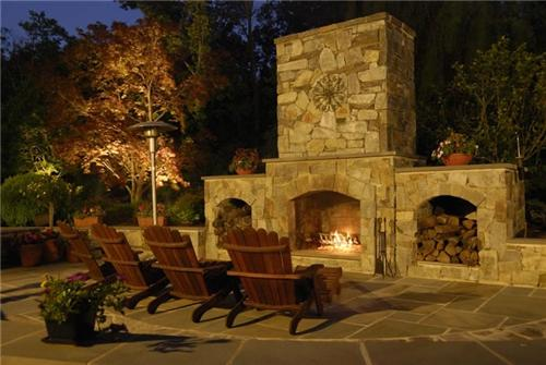 Elegant Stout Landscape in Los Angeles, CA; outdoor fireplace outdoor fireplace patio