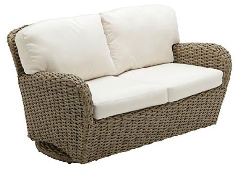 Elegant Sunset Deep Seating Outdoor Loveseat Outdoor Glider with Cushions . patio loveseat glider