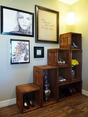 Elegant Thrifted crate shelving Use under staircase in living room? wall shelving units for living room
