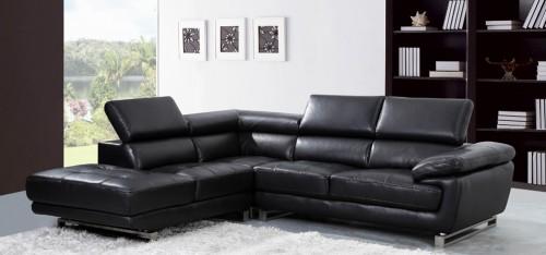 Elegant Valencia Corner Midnight Black H8582LHF black leather corner sofa