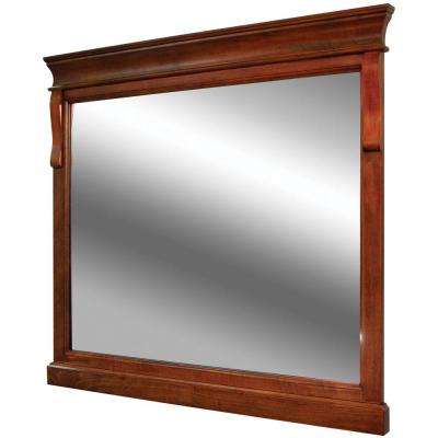Elegant W Wall Mirror in Warm Cinnamon wood framed bathroom mirrors