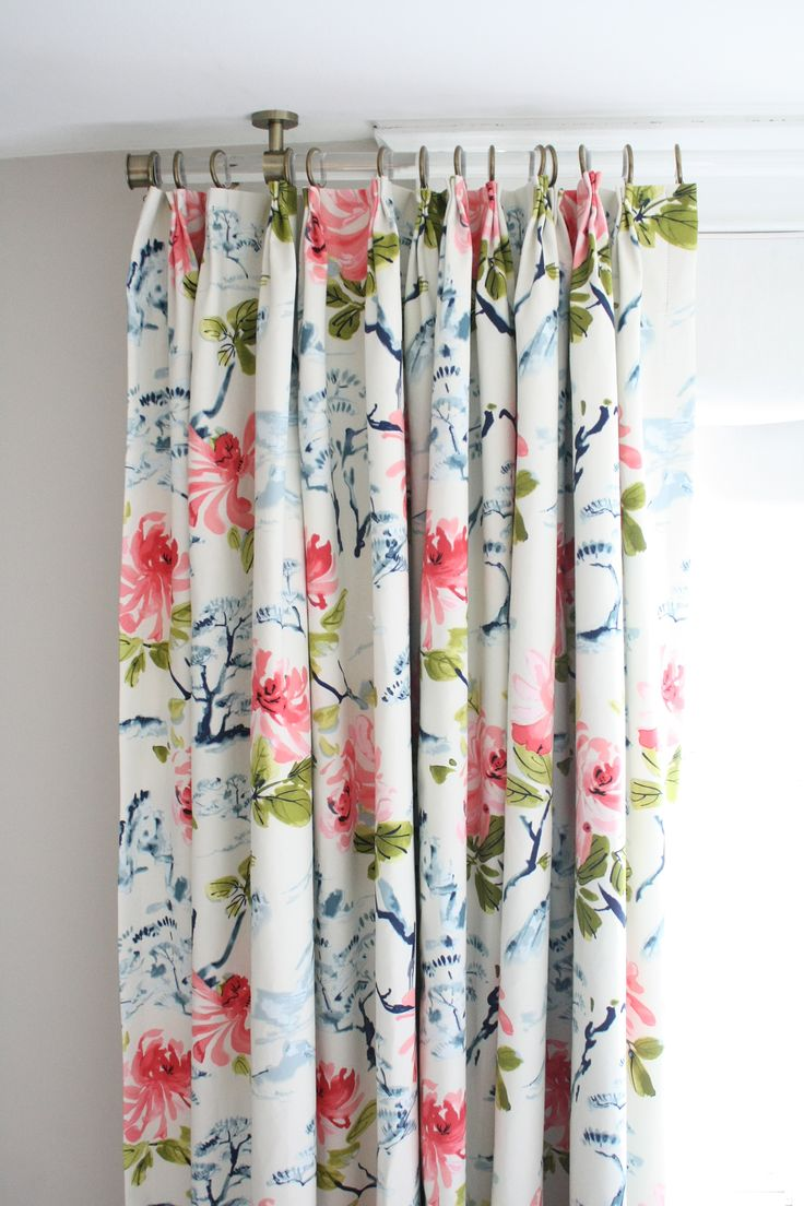 Photos of stunning floral curtains with pink peonies + indigo blue bonsai trees made floral bedroom curtains