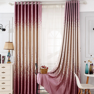 Cozy Country Purple Jacquard Blackout Ready Made Floral Curtains floral pattern curtains