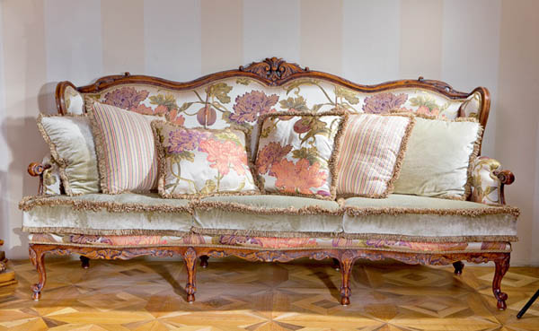 Cute Floral upholstery fabric in light colors, modern furniture for living room floral sofas and chairs