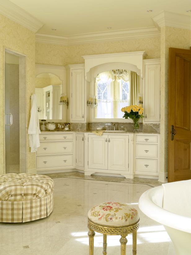 Images of French Country Bathroom With Distressed White Vanity Cabinets french country style bathroom vanities