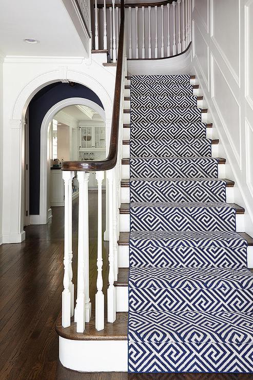 Ideas of Navy Geometric Stair Runner view full size geometric stair runner