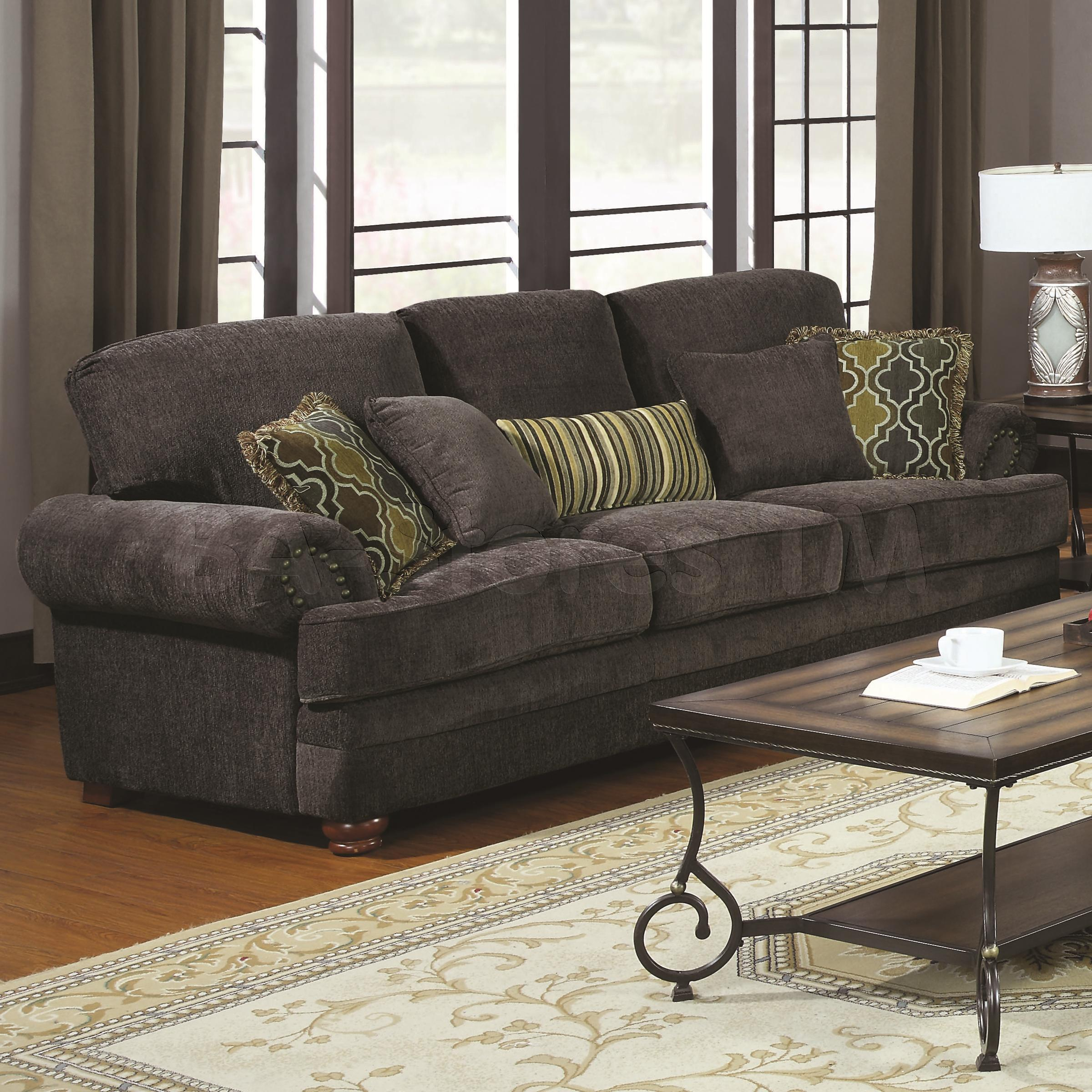 Awesome Colton Smokey Grey Chenille Sofa with Rolled Arms and Throw Pillows grey chenille sofa