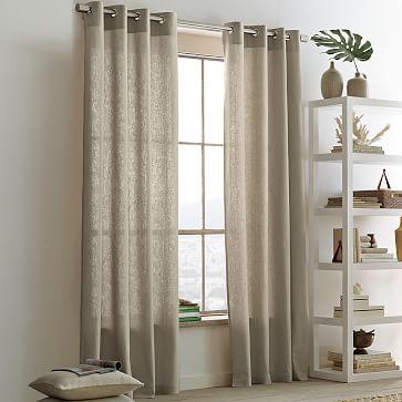 Unique Linen Cotton Grommet Curtain - Flax | west elm grommet window panels