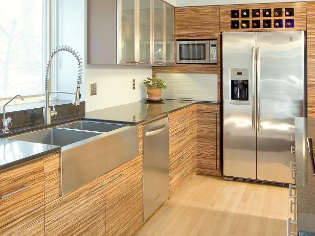 Ideas of Contemporary Kitchen With Bamboo Cabinets and Stainless Steel Countertops modern kitchen cabinet design